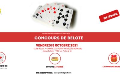 Concours de belote 8 Octobre 2021
